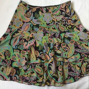 New Tribal Tiered Floral PaisleyFull Skirt Size 12